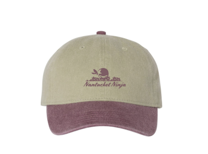 Pigment Dyed Embroidered Logo Baseball Cap (Khaki/Vineyard)