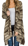 Women's Draped Open Front Cardigan (Coffee)