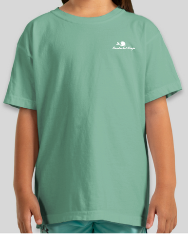 Youth - Garment Dyed Heavyweight Embroidered Logo Tee (Seafoam/White)