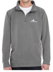 Quarter-Zip Embroidered Logo Pullover (Grey)