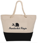 Zippered 12 oz. Cotton Logo Zip-Top Rope Tote (Natural/Black)