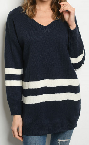 Striped Long-sleeve V-Neck Oversize Sweater