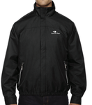 Men's Micro Twill Embroidered Logo Jacket (Black)