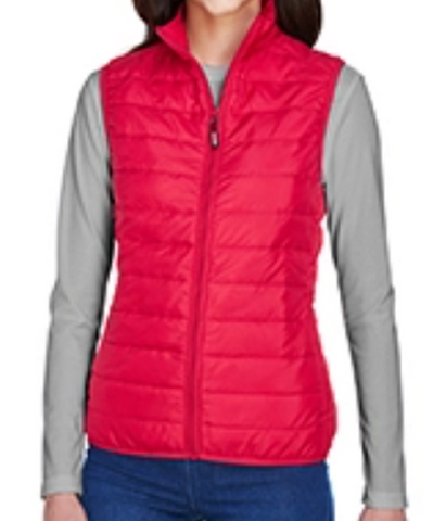Ladies Packable Puffer Vest (Bright Red)
