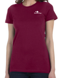 Ladies SS Fitted Tee w/ Embroidered Logo (Maroon)
