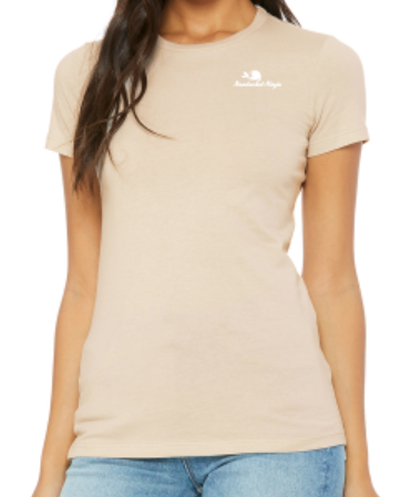 Ladies SS Fitted Tee w/ Embroidered Logo (Tan)