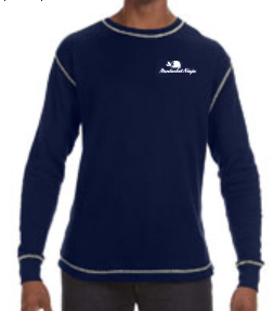 Vintage Long-Sleeve Embroidered Logo Thermal T-Shirt (Vintage Navy/White)