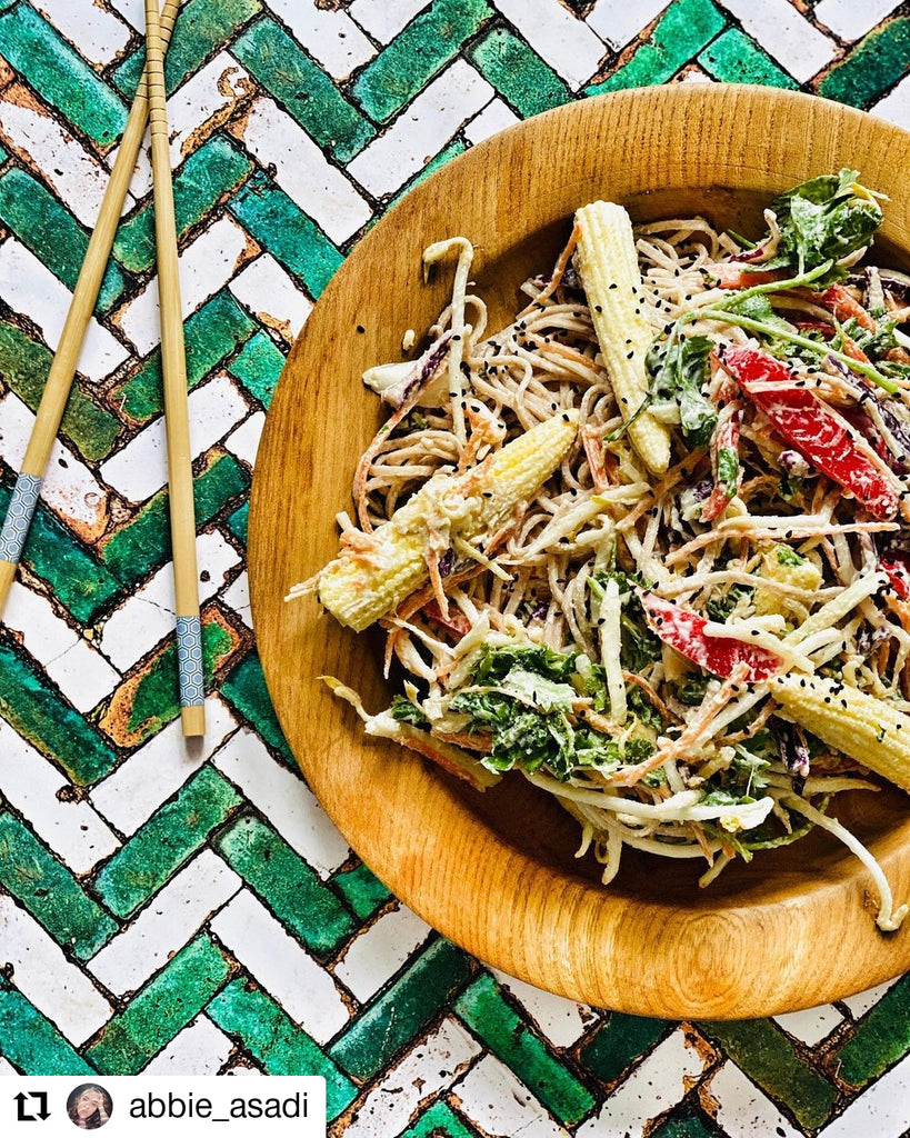 Cold noodle salad with a dressing made from Butter Nut of London's Cashew Coconut Cardamom nut butter | Photo by @abbie_asadi