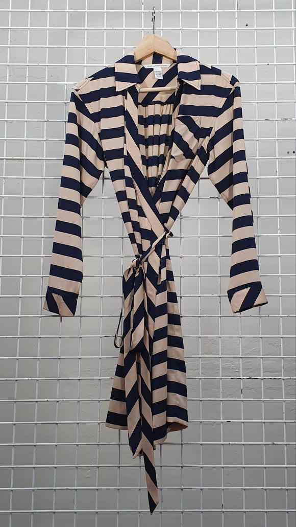 Striped Shirt Wrap Dress