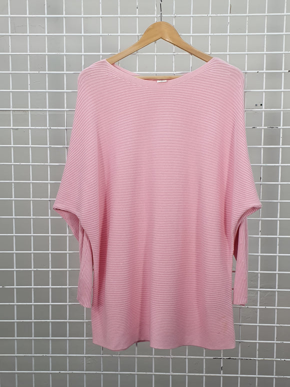 Pink Rib Detail Jumper