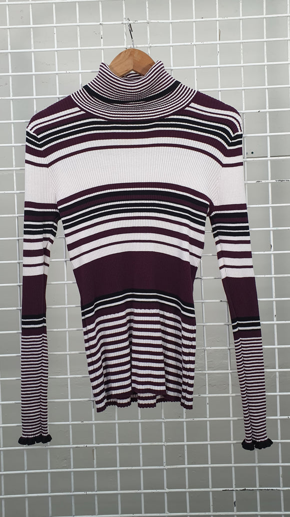 Ribbed Stripy Turtleneck Jumper - Saba