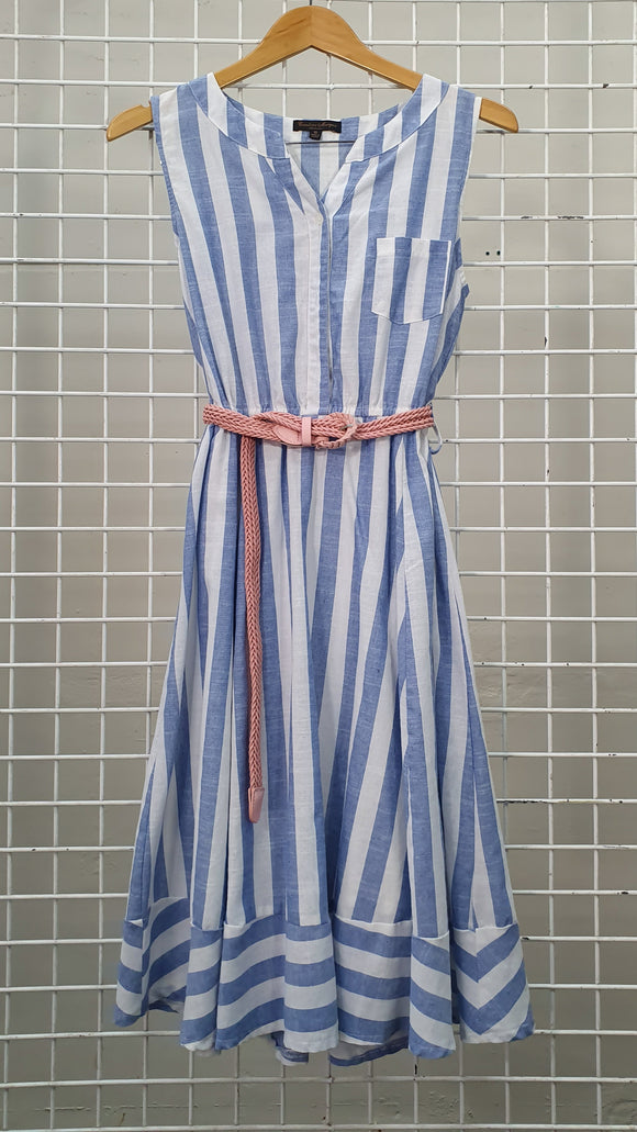 Stripe Detail Dress With Belt - Caroline Morgan