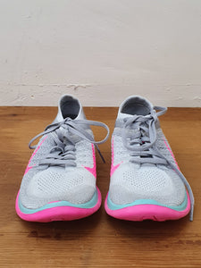 Silver / Pink Trainers - Nike Run Free Fly Knit