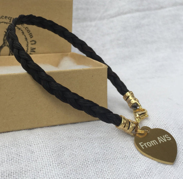 Horse Hair Bracelet with Custom Engraved Heart-shaped Tag