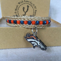 Horse Hair Bracelet with Broncos Charm and Blue and Orange Beads