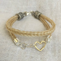 Horse Hair Bracelet with Sterling Silver & Vermeil Linked Hearts