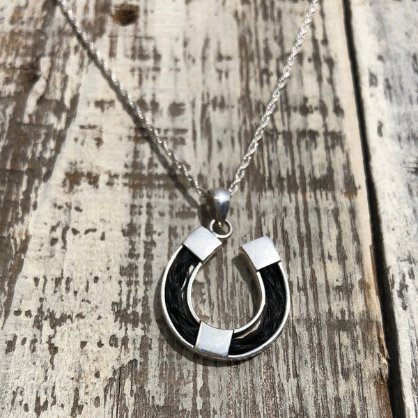 Horseshoe Horse Hair Sterling Silver Necklace