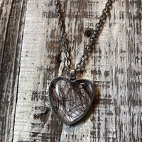 Custom Keepsake Heart Necklace with Your Hair Set Under Glass