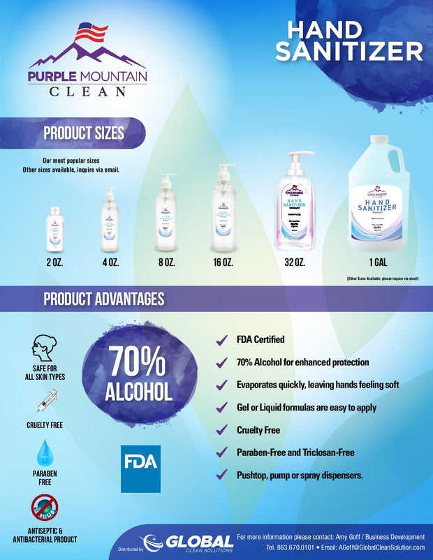 Purple Mountain Hand Sanitizer | Kills More Than 99.9% of Germs