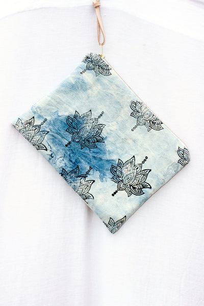 ISLAND SERIES 005 - INDIGO DYED LOTUS FLOWER CANVAS CLUTCH