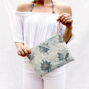 Canvas Dyed Lotus Flower Clutch - Salt Shoppe - Surf inspired canvas and neoprene bags for paradise.