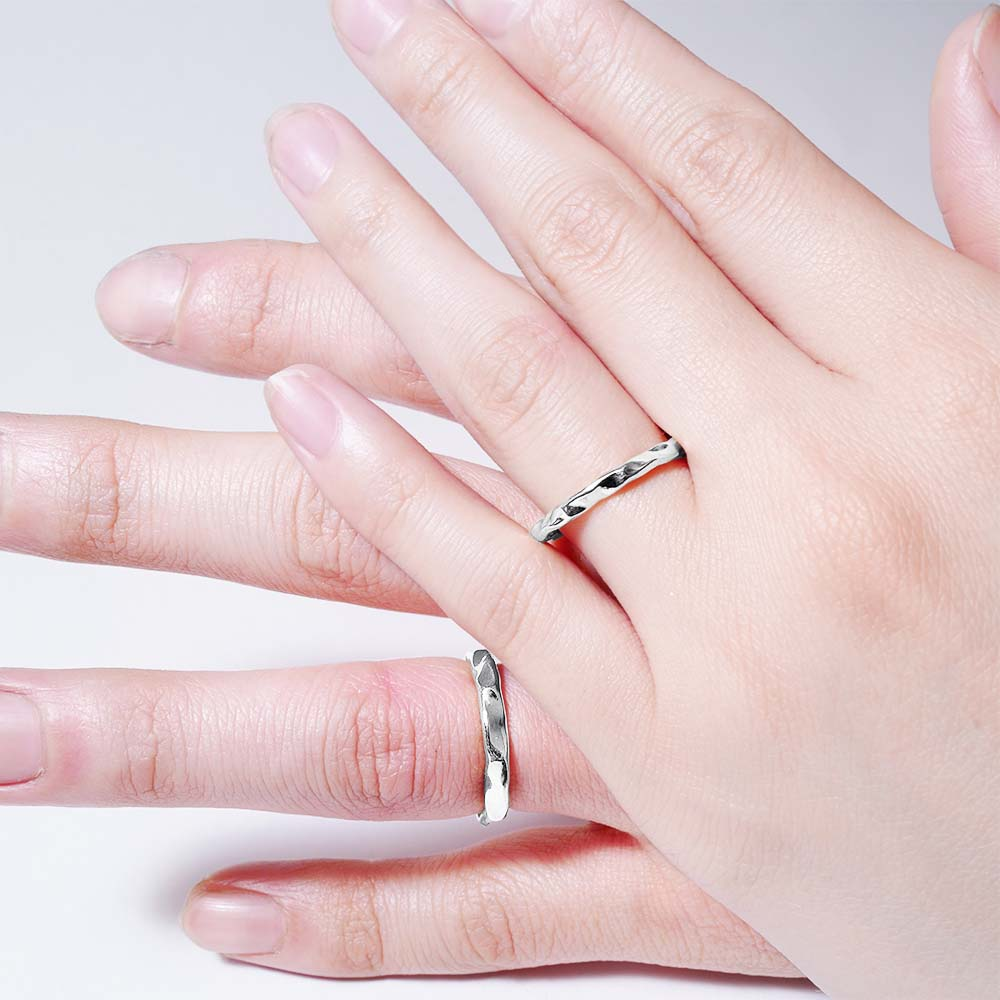 ripple silver<br>basic-pair ring