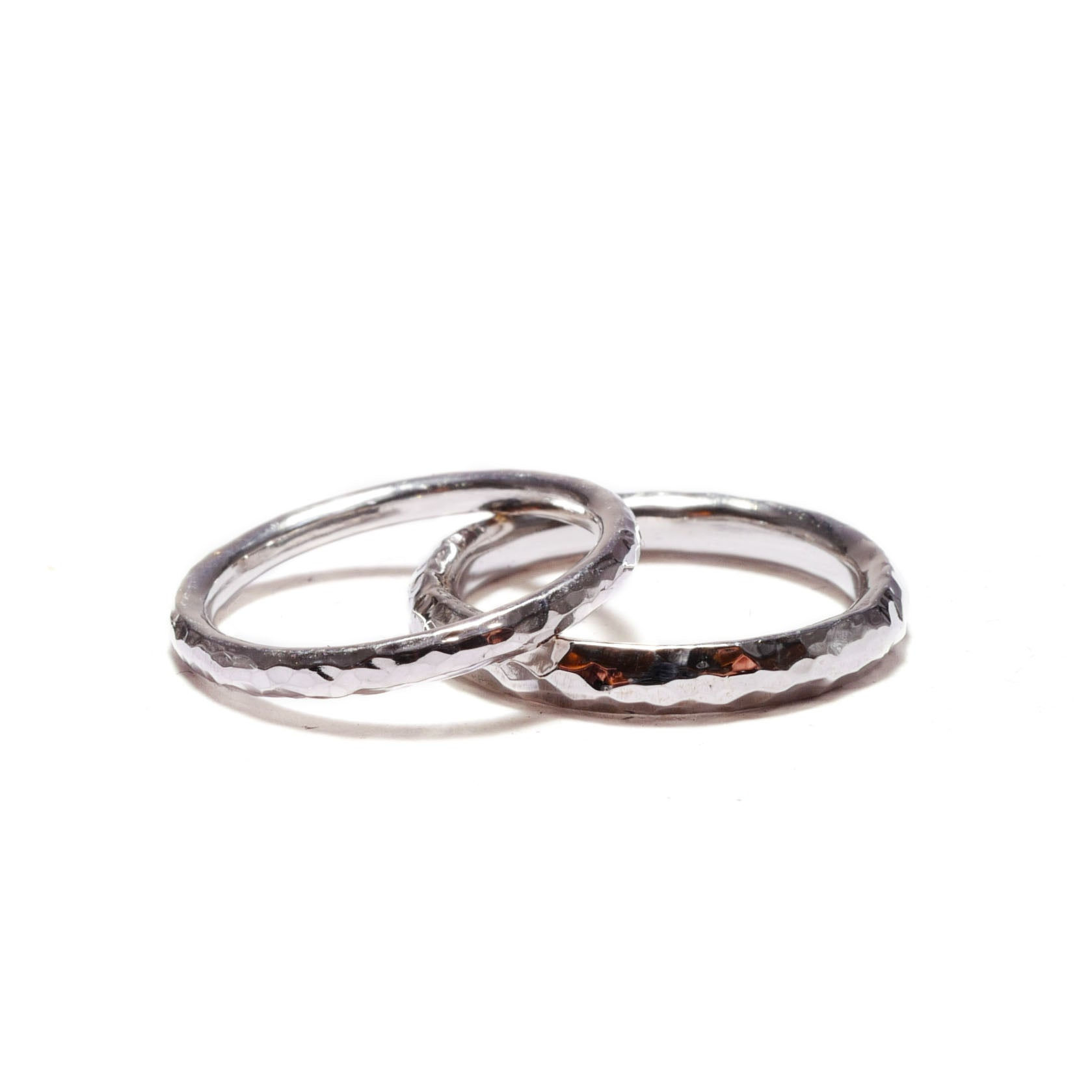 hammered finish<br>silver basic-pair ring