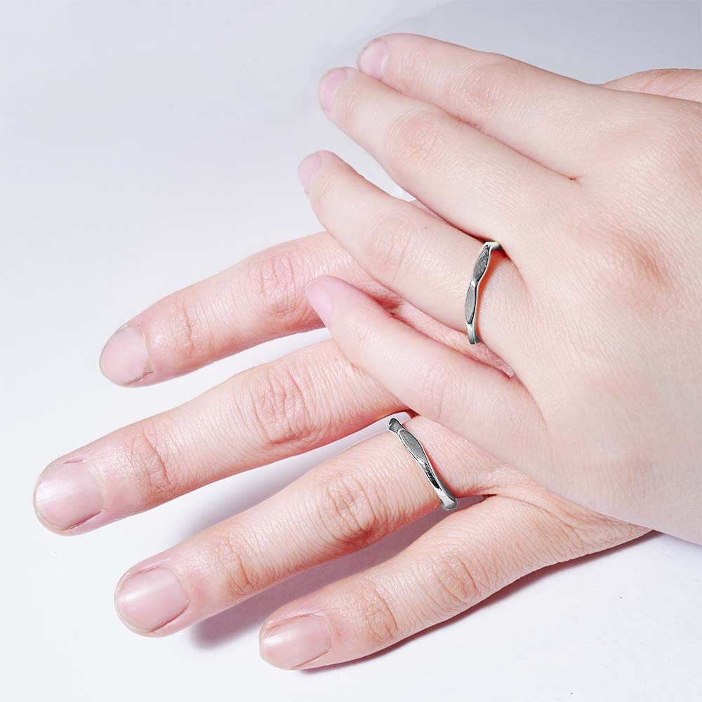 rock silver<br>volume-pair ring