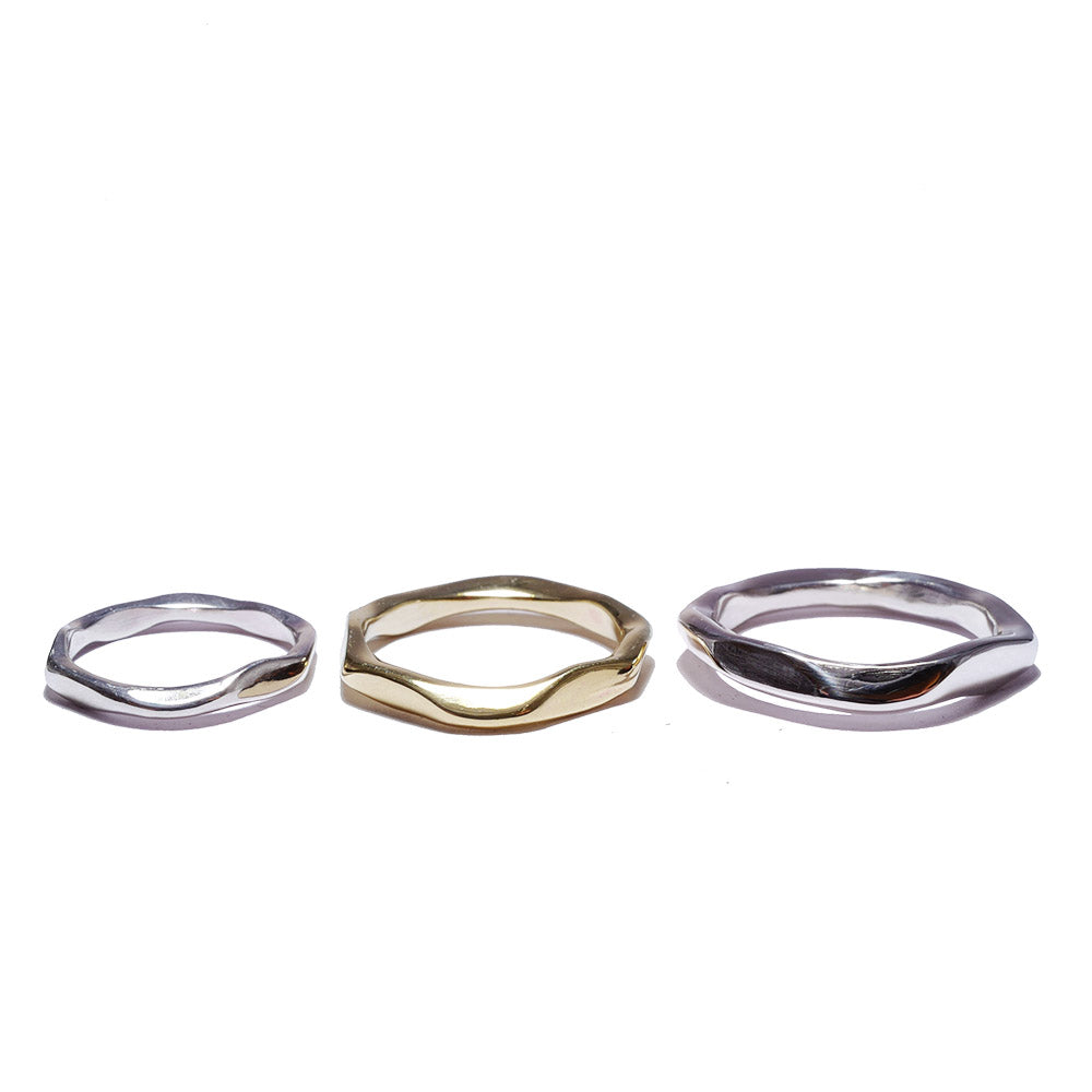 rock silver<br>basic-pair ring