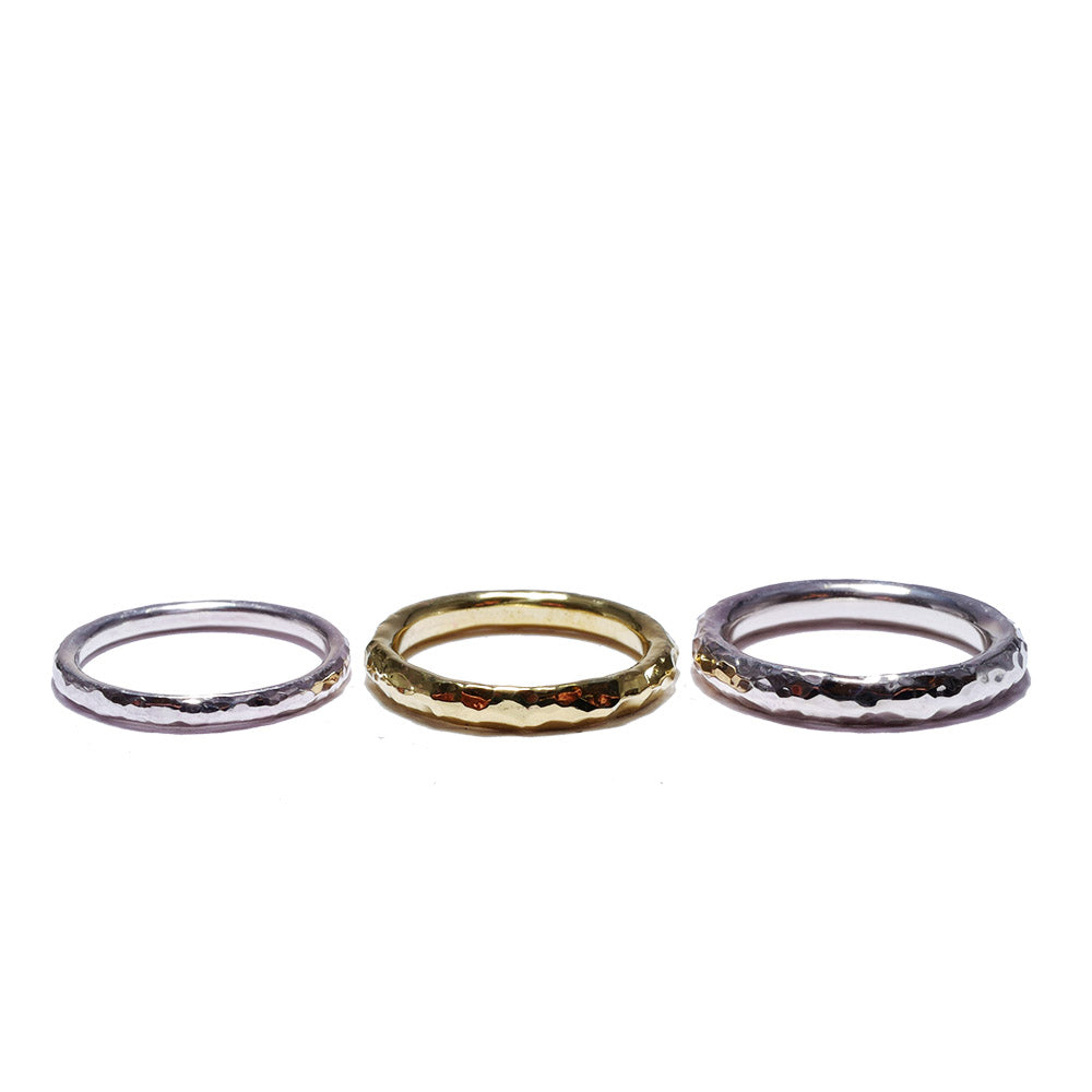 hammered finish<br>brass basic-pair ring
