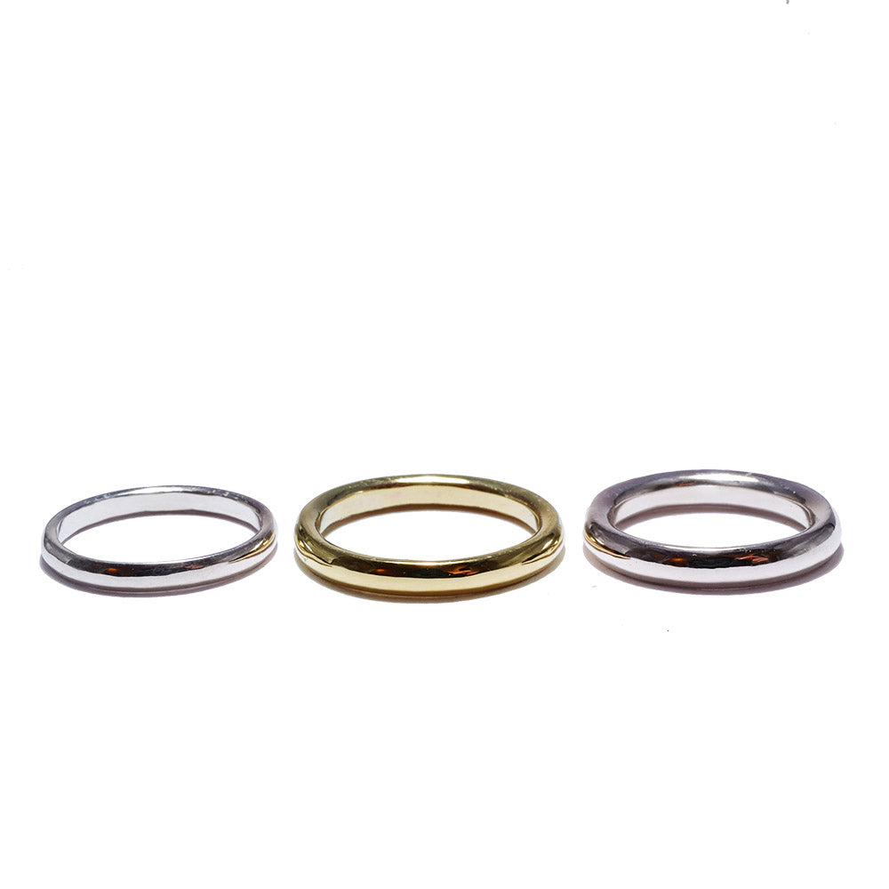 dome silver<br>basic-pair ring