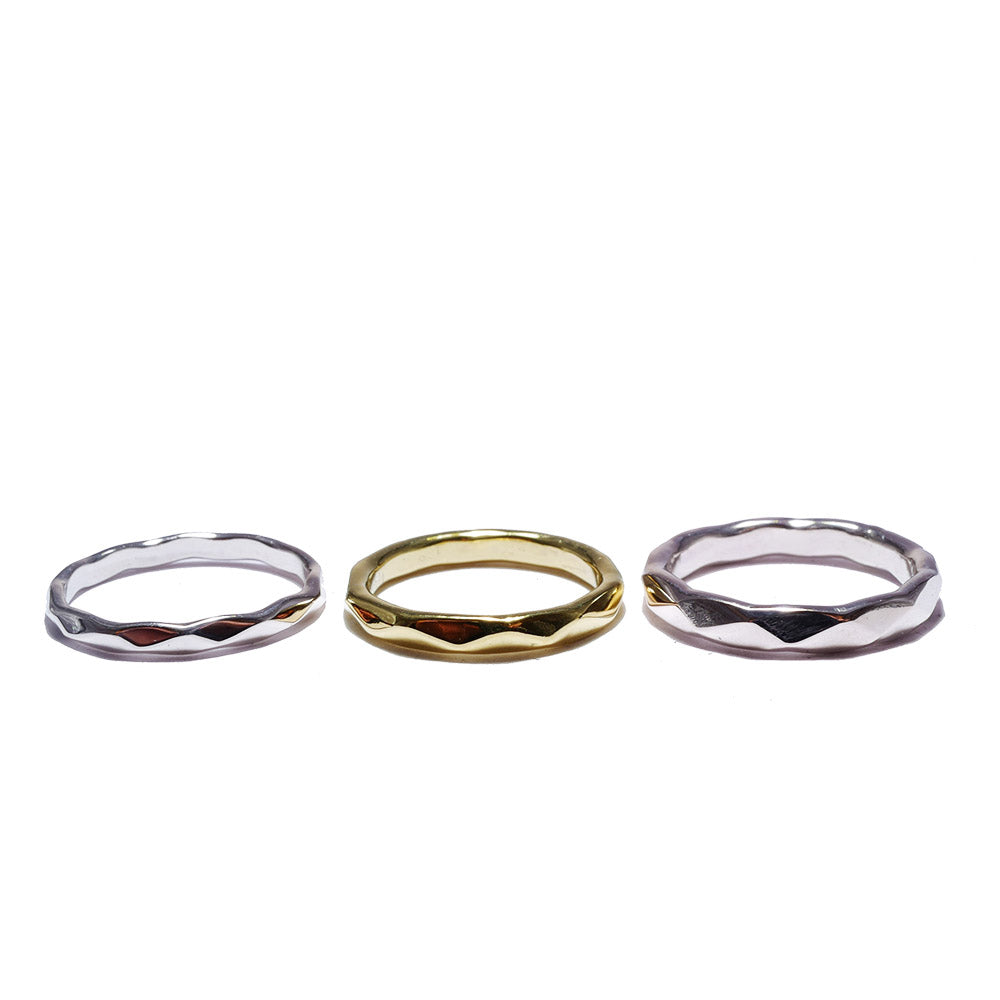 geometry silver<br>basic-pair ring