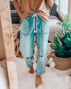 Spelesy Drawstring Distressed Cozy Jeans