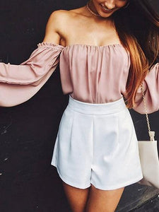 Pink Off Shoulder Puff Sleeve Blouse