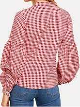 Load image into Gallery viewer, Red Plaid Cotton V-neck Puff Sleeve Chic Women Shirt
