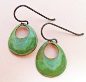 Small Verdigris Open Circle Earrings by SSD Jewelry