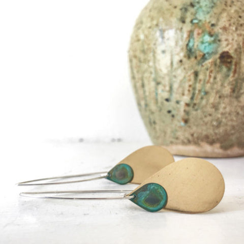 Lido Brass and Verdigris Drop Earrings by SSD Jewelry