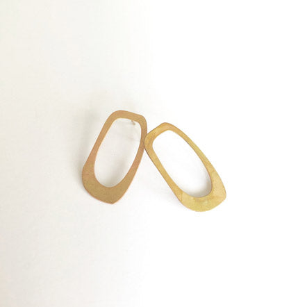 Brass Abstract Oval Earrings by SSD Jewelry