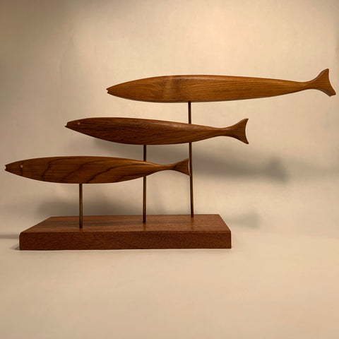 Hand Crafted Triple Fish Sculpture by Peter Tegu