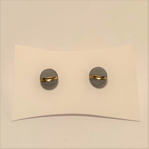 Gold Striped Small Circle Porcelain Studs by Mier Luo