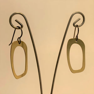 Brass Abstract Oval Dangle Earrings by SSD Jewelry