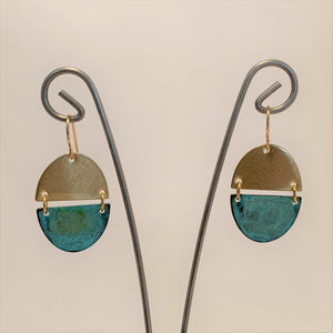 Small Verdigris Oval Earrings by SSD Jewelry