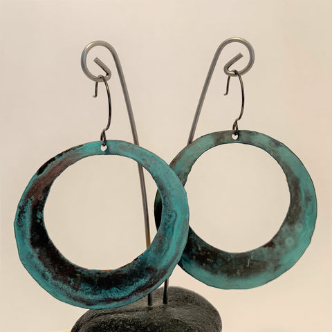 Large Open Circle Patina Earrings by SSD Jewelry