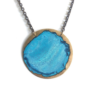 Large Sky Patina Circle Necklace by SSD Jewelry