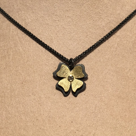 18k Gold, Oxidized Sterling Silver and Diamond Flower Necklace by Alishan Halebian