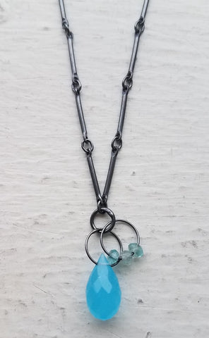 Oxidized Sterling Silver, Blue Chalcedony and Apatite Necklace by Heather Guidero