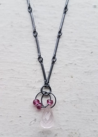 Oxidized Sterling Silver, Rose Quartz and Garnet Necklace by Heather Guidero