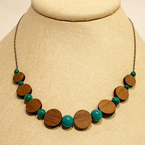 Turquoise and Walnut Disc Necklace by Allison Johnson