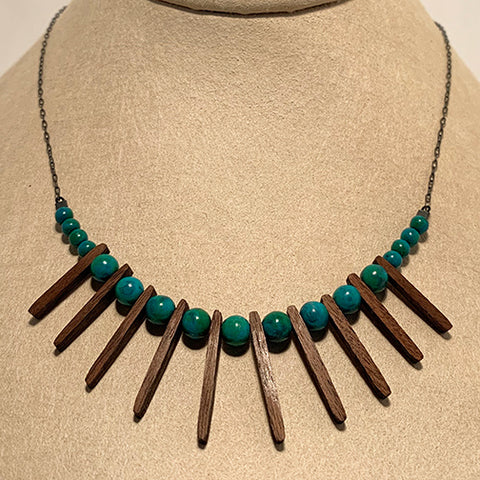 Turquoise and Walnut Sticks Necklace by Allison Johnson