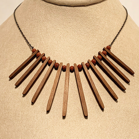 Goldstone and Cherry Sticks Necklace by Allison Johnson